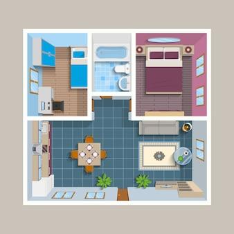 Плоский архитектурный план вид сверху положение