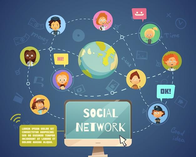 漫画で設計された子供のアバターアイコンを持つさまざまな職業のソーシャルネットワーキングの人々のグループ