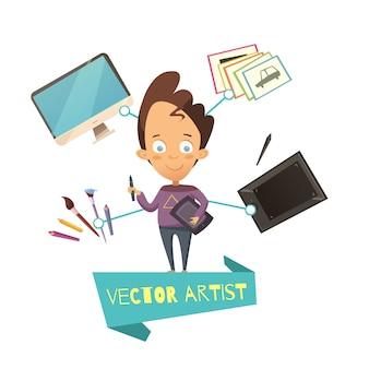 漫画のスタイルの子供のためのベクトルアーティストの職業のイラスト