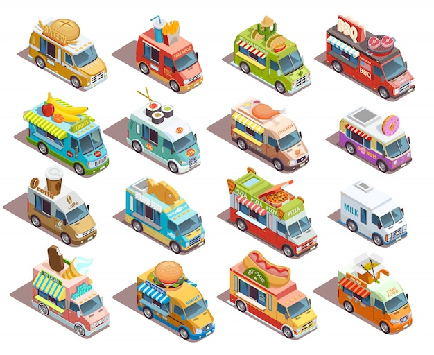 ストリートフードトラック等尺性のアイコンコレクション