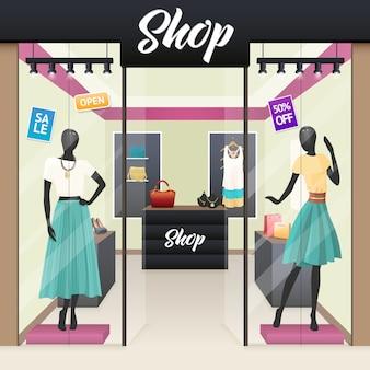 女性ファッションショップ販売ウィンドウ表示