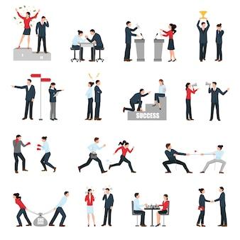Бизнес противостояние люди плоские иконки набор