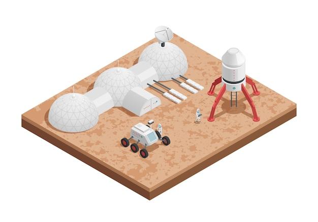 Цветная ракетная космическая изометрическая композиция с платформой для запуска ракет и их конструирования