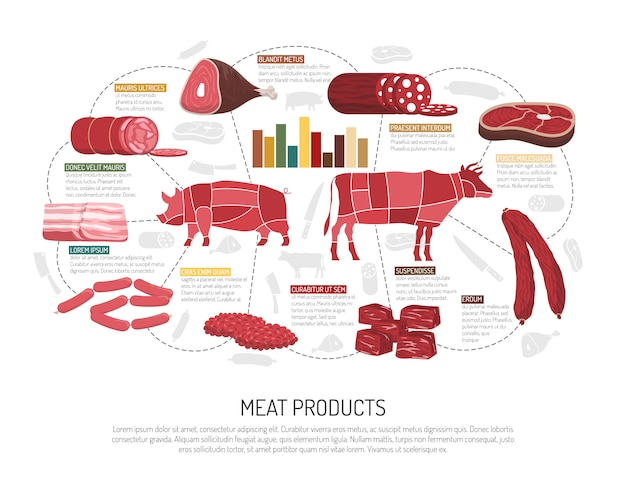 食肉製品フラットインフォグラフィックポスター