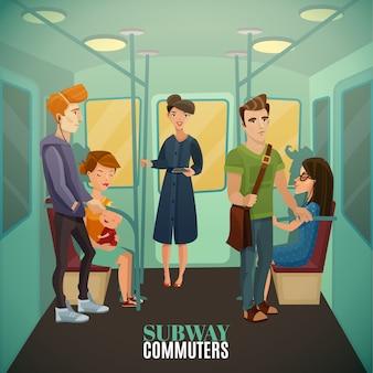 地下鉄の通勤者の背景