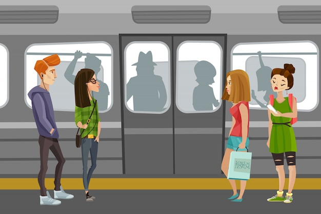 地下鉄の人々の背景