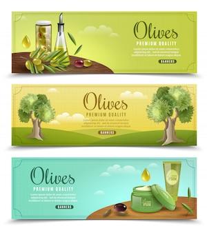 Набор оливковых баннеров