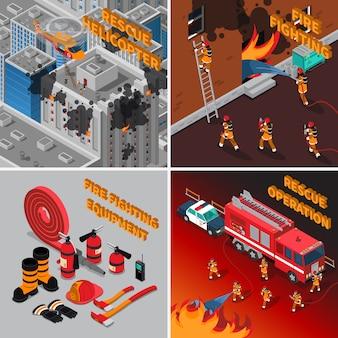 Пожарный изометрические концепция