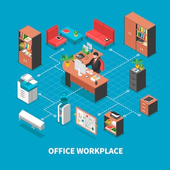 仕事場の背景のコンセプト
