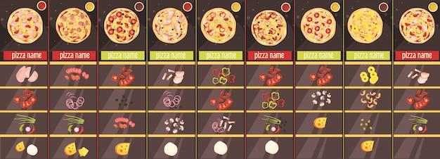 Шаблон меню в стиле пиццы в мультяшном стиле