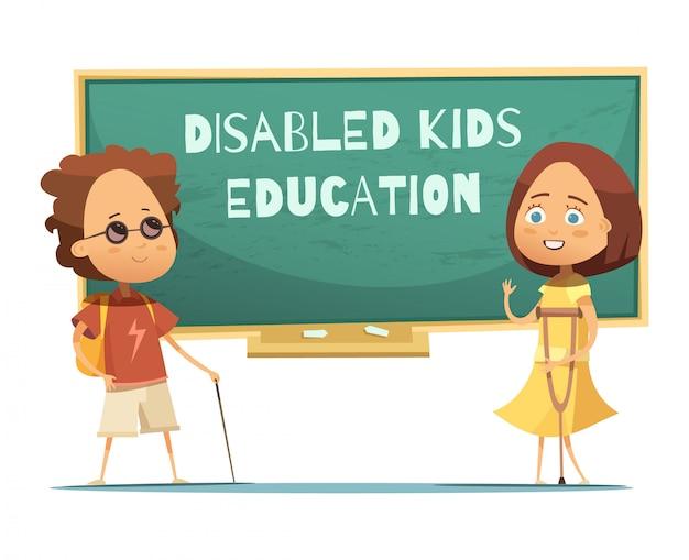 盲目の少年と少女と障害者の子供たちのデザインの教育