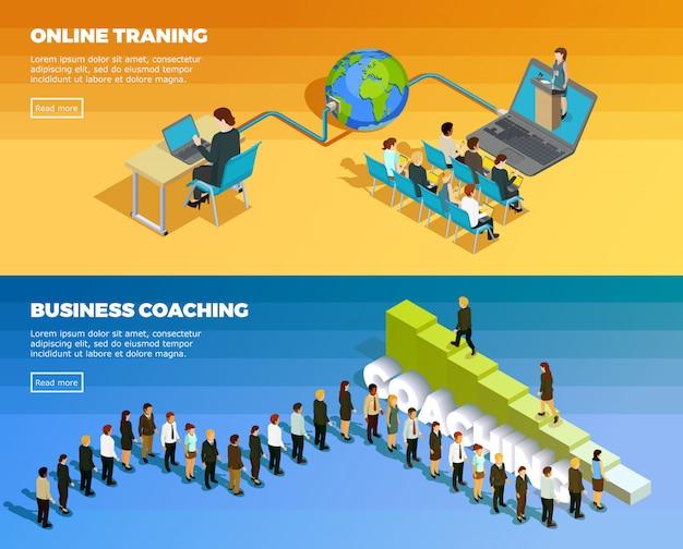 Бизнес-образование изометрические горизонтальные баннеры