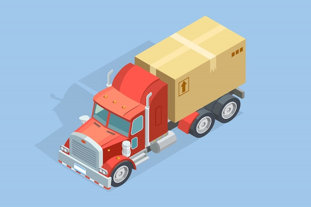Тяжелый грузовик изометрические шаблон