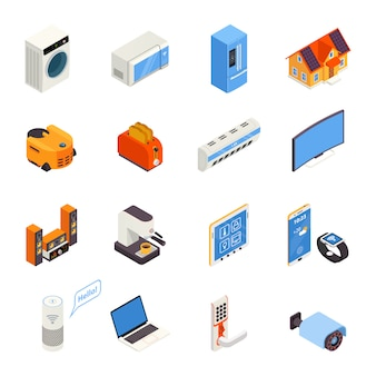 スマートホームテクノロジー等尺性のアイコンコレクション