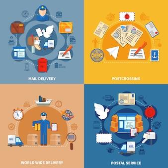郵便サービスのカラフルなコンポジション
