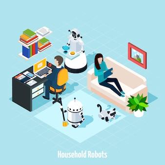 Домашние роботы изометрическая композиция