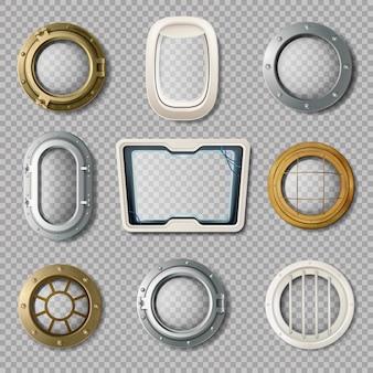 Реалистичный набор металлических и пластиковых иллюминаторов различной формы на прозрачном фоне, изолированных век