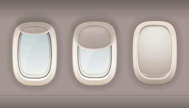 Три реалистичные иллюминаторы самолета из белого пластика с открытыми и закрытыми шторами вектор я