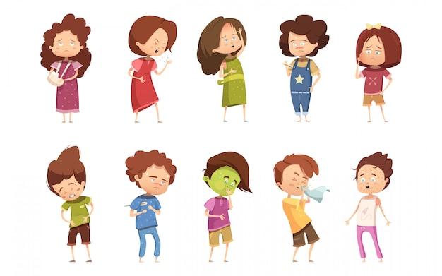 Цветные болезни ребенка ретро мультфильм значок набор с девочками и мальчиками различной степени заболеваемости вектор