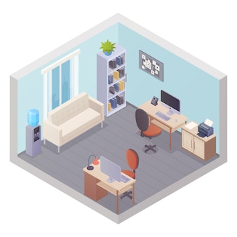 Изометрические офисный интерьер с двумя рабочими местами, шкаф для посуды, холодильник, стол и принтер