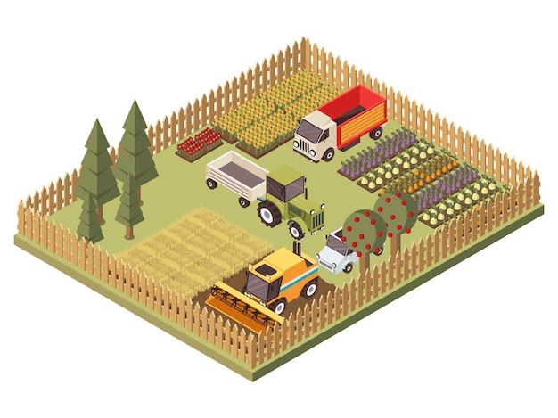 Сельскохозяйственные транспортные средства изометрические дизайн
