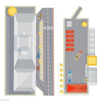 Композиция вида сверху гоночного трека с плоскими изображениями гоночных автомобилей, находящихся на техобслуживании во время пит-стопа
