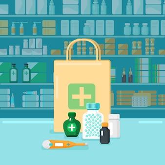 色付きの薬局のコンセプト