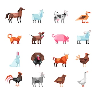 幾何学的な農場の動物セット