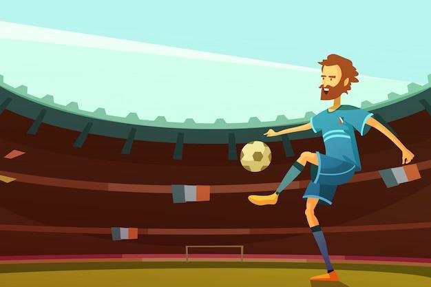 Футболист с мячом на стадионе с флагами франции на фоне векторных иллюстраций