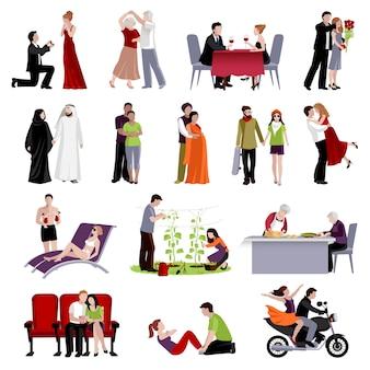 さまざまな場所で一緒に時間を過ごすさまざまな年齢と国籍のカップルがフラットセット