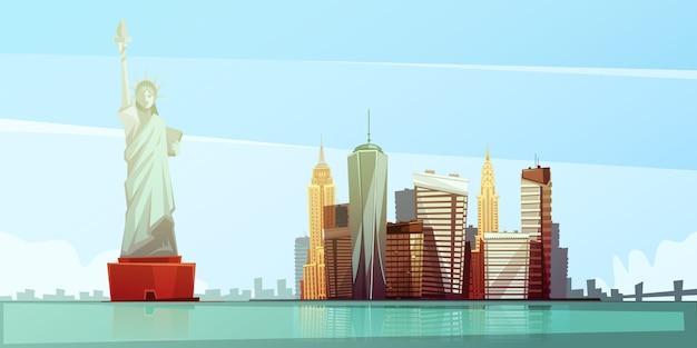 Концепция дизайна горизонта нью-йорка со статуей свободы эмпайр стейт билдинг, здание крайслер освобождено
