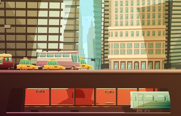 Концепция дизайна города нью-йорка с небоскребами и городским транспортом, а также с желтыми кабинами городского транспорта