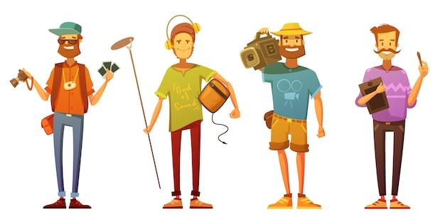 フリーランスのジャーナリスト記者カメラマンとアーティストはさりげなく服を着て