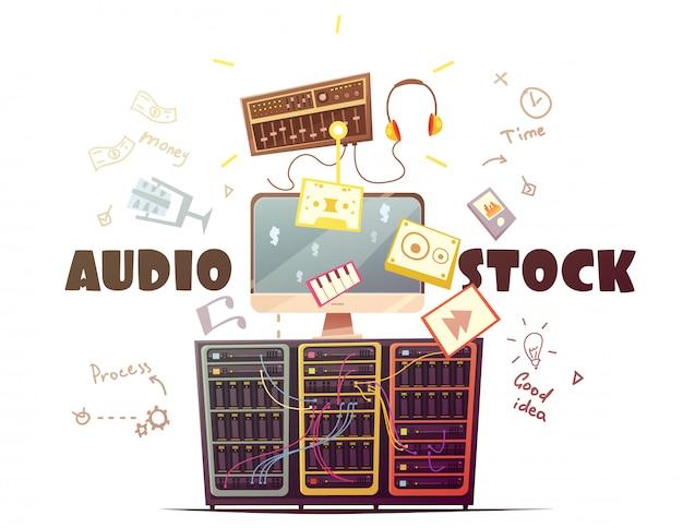 ロイヤリティフリーの音楽音響効果ダウンロードのためのオーディオストック