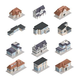 Изометрические мпдерные малоэтажные загородные дома разной формы установлены изолированно