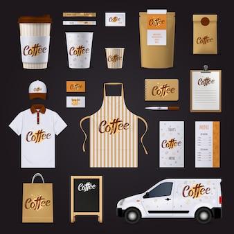 Набор шаблонов дизайна фирменного кофе для кафе с униформой для автомобильных стаканов по меню