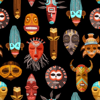 アフリカ民族部族のマスクのシームレスパターン
