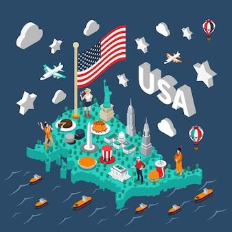 アメリカ等尺性地図