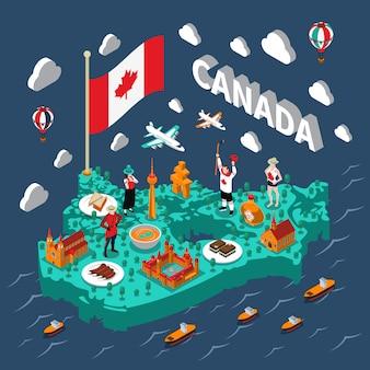 カナダ等尺性地図