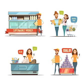 食料品のカート乳製品ラックとスーパーレトロな漫画アイコンコレクションでのショッピング