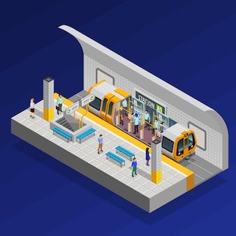 Станция метро изометрические концепция