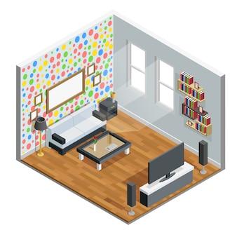 Гостиная изометрические дизайн