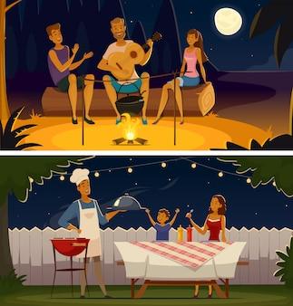 夜のバーベキューパーティーカットイラスト、レトロなバナー