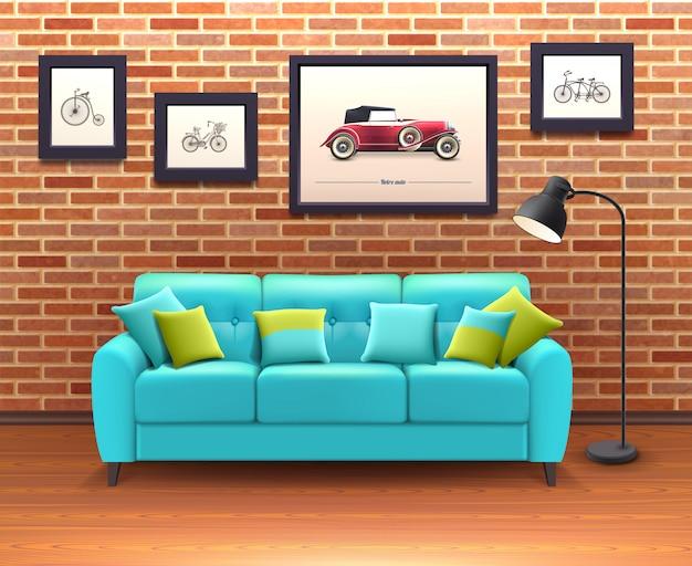 Интерьер с диваном реалистичные иллюстрации
