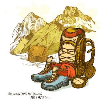 ハイキング手描きポスター