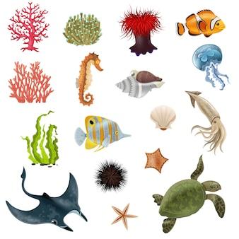 Набор иконок мультфильм морской жизни