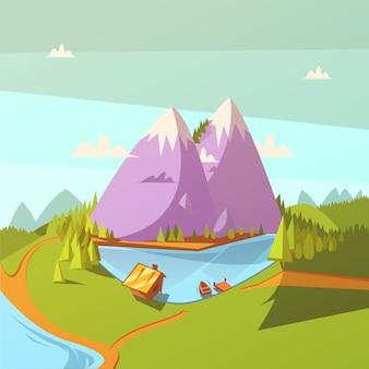 湖の漫画の背景でのハイキング