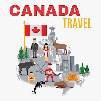 装飾地図カナダポスター