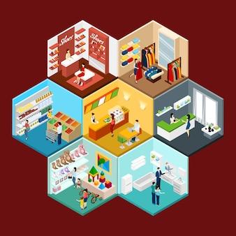 ショッピングモールの六角形パターン等尺性組成物