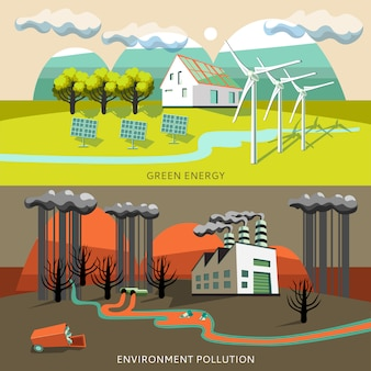Зеленая энергия и баннеры загрязнения окружающей среды